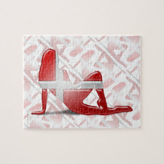 Danish Girl Silhouette Flag Puzzle