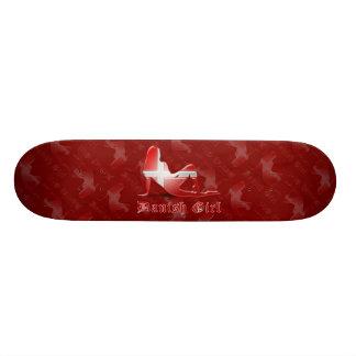 Danish Girl Silhouette Flag Skateboard Deck