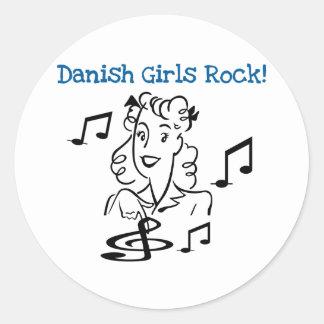 Danish Girls Rock Round Stickers