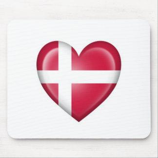 Danish Heart Flag on White Mouse Pad