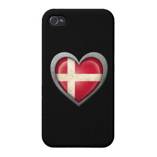 Danish Heart Flag with Metal Effect iPhone 4 Covers