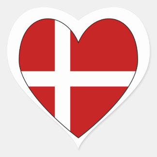 Danish Heart Valentine Flag Heart Sticker