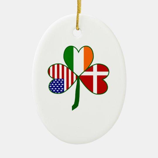 Danish Irish American Shamrock Ceramic Ornament