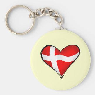 Danish love for Denmark Danmark flag heart Keychain