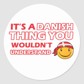 Danish Smiley Designs Classic Round Sticker