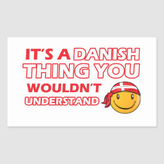 Danish Smiley Designs Rectangular Sticker