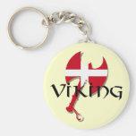 Danish Viking Denmark flag Axe Basic Round Button Keychain