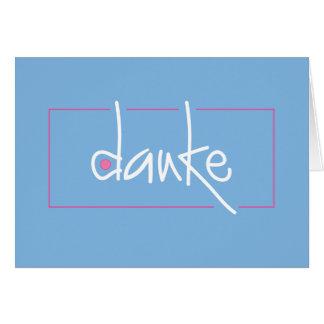 Danke azul y rosado le agradece en cualquier lengu felicitación