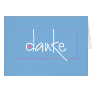 Danke Blue and Pink Thank you in any language Stationery Note Card