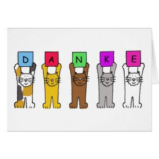 """Danke, gatos que dicen """"gracias"""" en alemán tarjeta de felicitación"""