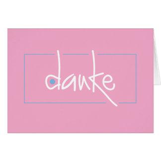 Danke le agradece en cualquier lengua tarjeta pequeña