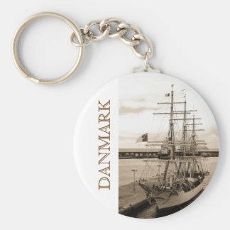 Danmark Basic Round Button Keychain