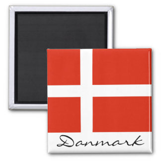 Danmark with Dannebrog 2 Inch Square Magnet