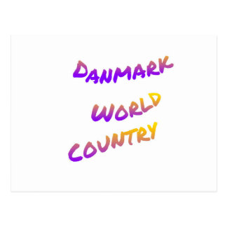 Danmark world country, colorful text art postcard