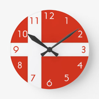 Dannebrog; The Official Flag of Denmark Round Wall Clocks