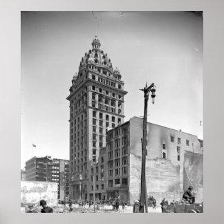 Daño 1906 del terremoto de San Francisco a la estr Póster