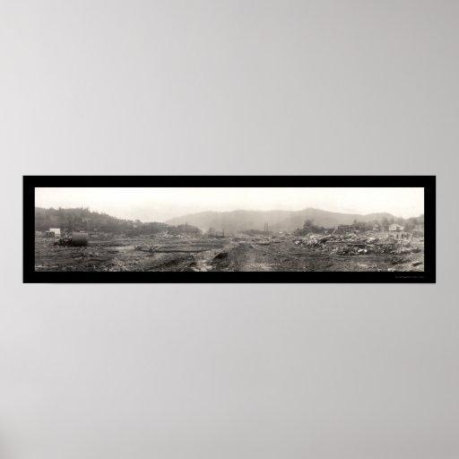 Daño causado por inundación Austin, foto 1911 del  Poster