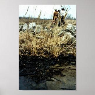 Daño del derrame de petróleo del río Detroit Póster