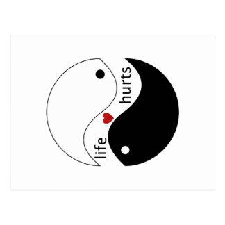 Daños de la vida, corazón, y símbolo de yin-Yang Postal