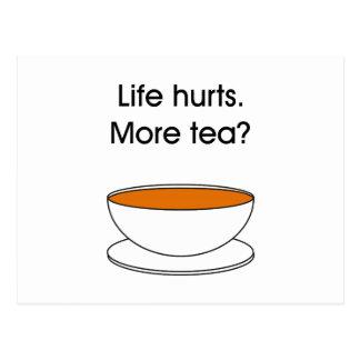 Daños de la vida. ¿Más té? -- cita del té Tarjetas Postales