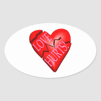 Daños del amor pegatina ovalada