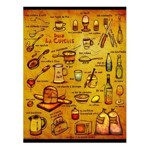 Dans la cuisine french vocab card zazzle - Moucherons dans la cuisine ...