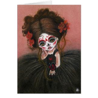 Danse Macabre big eye girl dia de los muertos Card