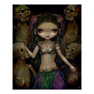 Danse Macabre Tribal Fusion gothic fairy art CANVAS PRINT skeleton bellydance