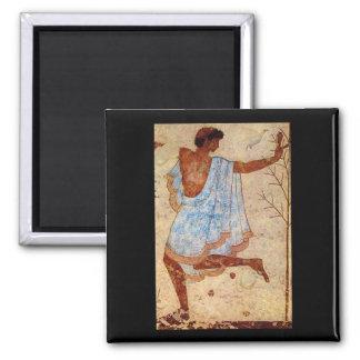 Danseur', Tarquinia, Tombe_Art de la antigüedad Imán Cuadrado