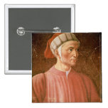Dante Alighieri (1265-1321) detail of his bust, fr 2 Inch Square Button
