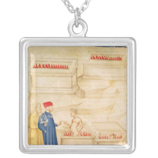 Dante and Virgil  discover Count Ugolino Square Pendant Necklace