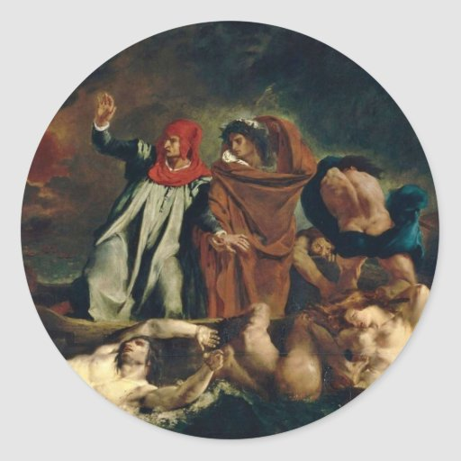 Dante And Virgil In Hell (The Barque Of Dante) Round Sticker