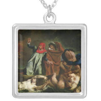 Dante  and Virgil  in the Underworld, 1822 Silver Plated Necklace