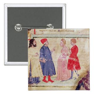 Dante and Virgil  with Francesca da Rimini 2 Inch Square Button