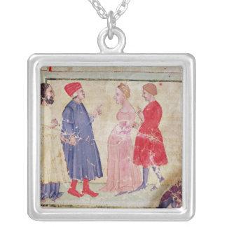 Dante and Virgil  with Francesca da Rimini Silver Plated Necklace