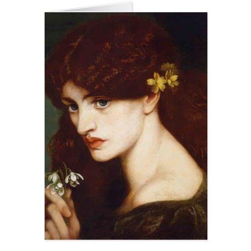 Dante Gabriel Rossetti- Blanzifiore (Snowdrops) Tarjeton