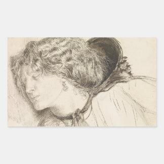 Dante Gabriel Rossetti - Found -Study for the Head Rectangular Sticker