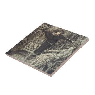 Dante Gabriel Rossetti: Hamlet y Ofelia Azulejo Cuadrado Pequeño