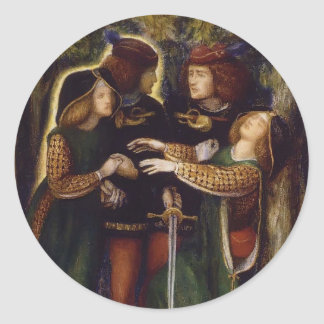 Dante Gabriel Rossetti: How They Met Themselves Classic Round Sticker