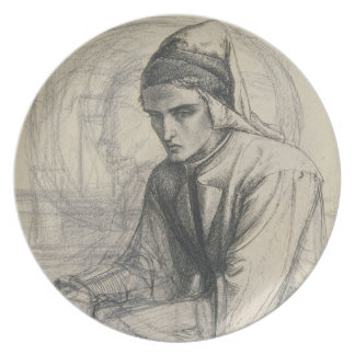Dante in Meditation Holding a Pomegranate, c.1852 Melamine Plate
