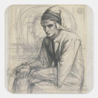 Dante in Meditation Holding a Pomegranate, c.1852 Square Sticker