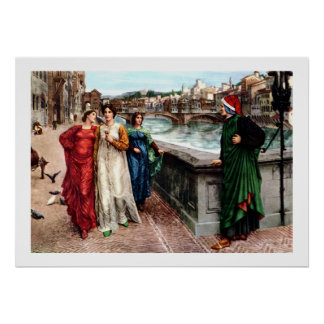 Dante meets Beatrice in Florence fine art painting Poster
