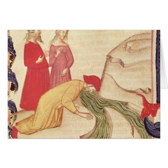 Dante purifying himself before entering card