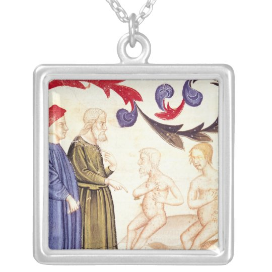 Dante, Virgil and the Plague-stricken Silver Plated Necklace