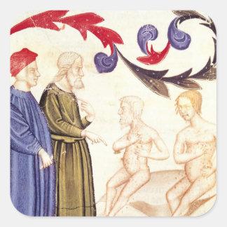 Dante, Virgil y Plaga-pegados Pegatina Cuadrada