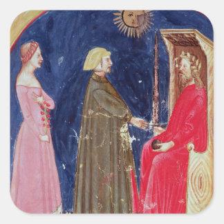 Dante y Beatriz antes de justiniano Pegatina Cuadrada