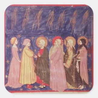 Dante y Beatriz con los santos del paraíso Pegatina Cuadrada