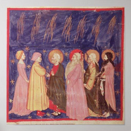 Dante y Beatriz con los santos del paraíso Póster