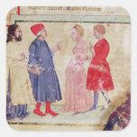 Dante y Virgil con Francisca DA Rímini Pegatina Cuadrada