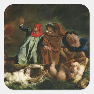 Dante y Virgil en el mundo terrenal, 1822 Pegatina Cuadrada